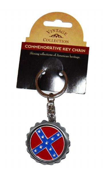 Confederate Flag Metal Bottle Opener Keyring